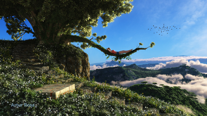 branch, render, mountain, clouds, girl, 3D, tree, view, lying down, birds