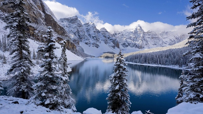 moraine lake, winter, snow, nature