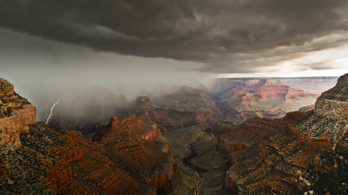 lightning, sky, canyon, USA, rain, stunner
