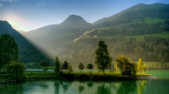 hills, trees, greenery, mountain, nature, river