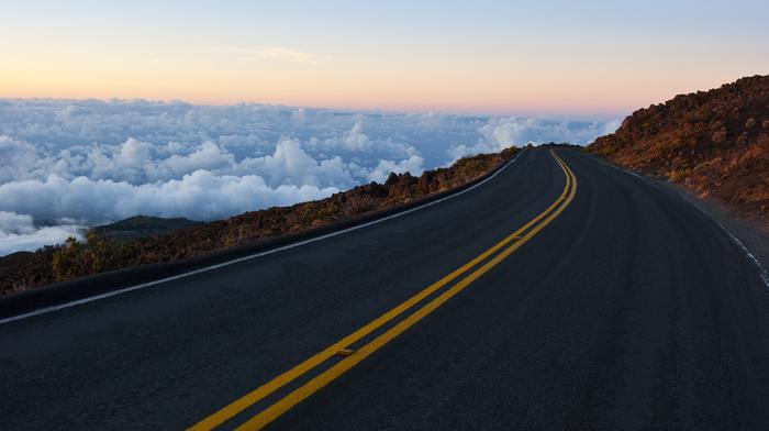 clouds, stunner, rocks, road, sky, horizon, mountain