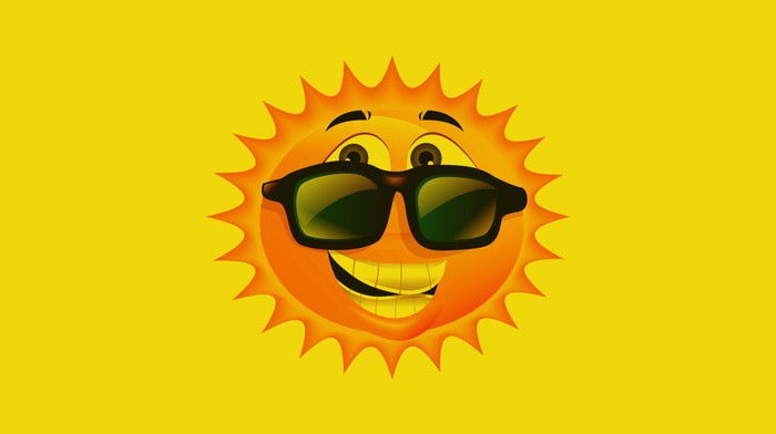 Sun, yellow, creative, glasses, smiling