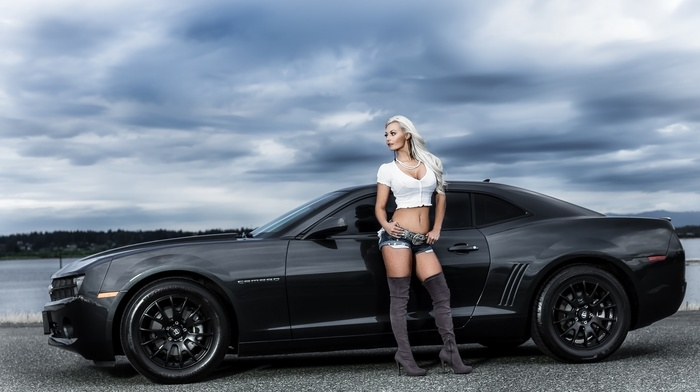 girl, cars, camaro, cloudy, black, hills, blonde, nature, Chevrolet, pond