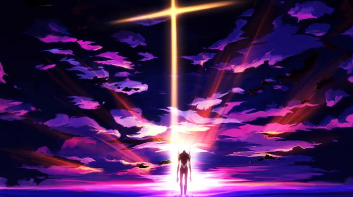 Neon Genesis Evangelion, clouds, sunset, art, anime, robot, sky