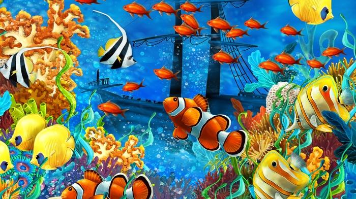 painting, underwater, beautiful, photoshop, art, 3D, sailfish