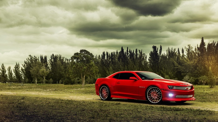 sky, red, cloudy, forest, nature, camaro, trees, cars, Chevrolet, road