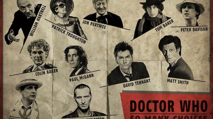 Christopher Eccleston, Matt Smith, Doctor Who, artwork, Tom Baker, The Doctor, David Tennant