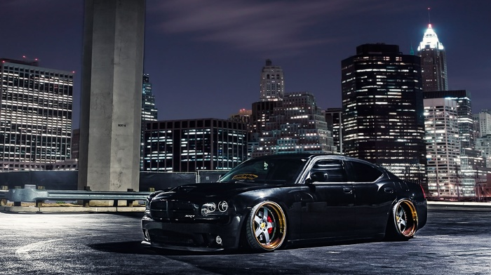 black, wheels, city, skyscrapers, tuning, parking, Dodge, cars, evening, supercar