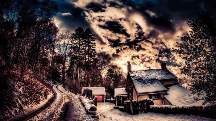trees, clouds, road, chimneys, sky, house, snow, nature, HDR