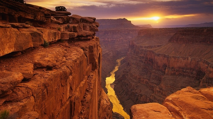 desert, landscape, rock, river, canyon, Sun, mountain, Grand Canyon