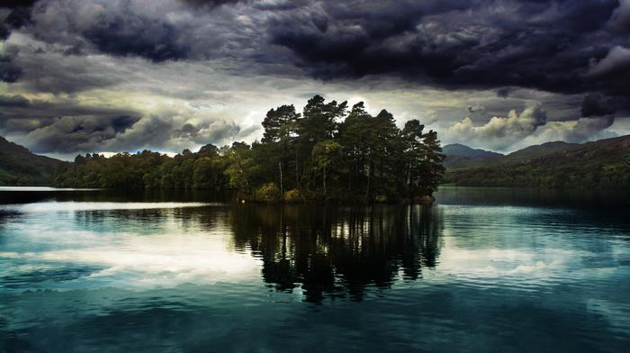 forest, sky, fishing, reflection, cloudy, mountain, nature, beautiful, island, lake