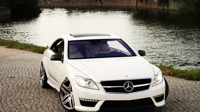 auto, white, water, background, Mercedes, cars