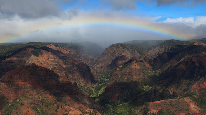 USA, nature, rainbow, canyon, sky