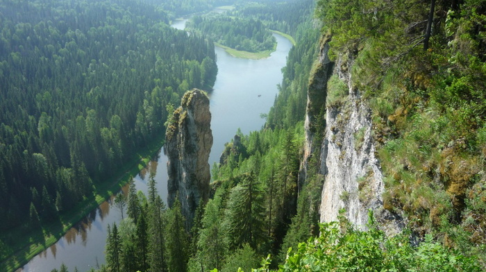 forest, beauty, greenery, trees, river, Russia, rocks, stunner