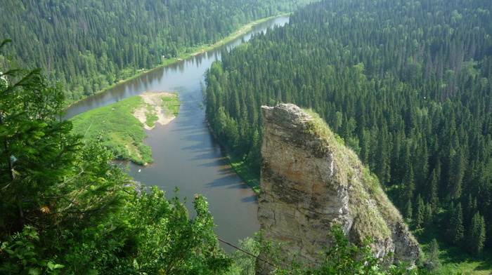 sky, beauty, forest, nature, river, rocks, trees, greenery, Russia