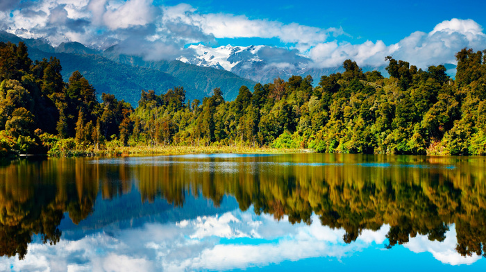 beautiful, lake, sky, forest, reflection, mountain, nature, clouds, water