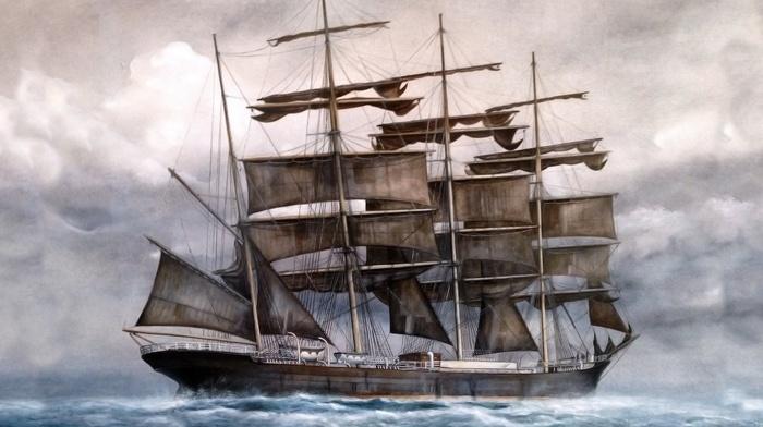 painting, sailfish, cloudy, sea, stunner, ship, sky