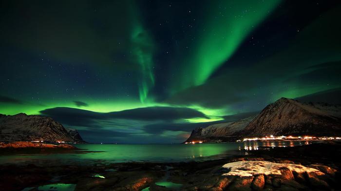 красивые, красиво, облака, зима, norway, горы, фьорд, Норвегия, северное сияние, ночь, звезды