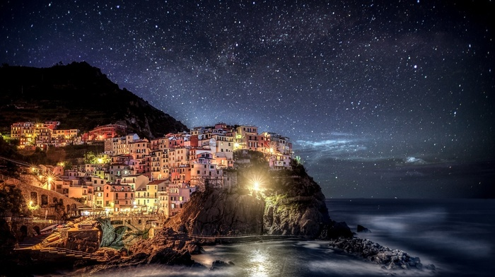 sea, mountain, night, cities, Italy, stars, city