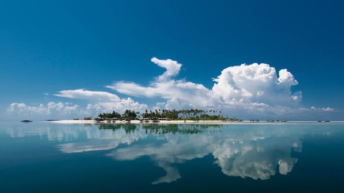 rest, reflection, nature, sky, summer, ocean, water, clouds, island, resort