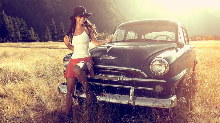 girl, summer, mountain, forest, auto, nature, cars, retro, beautiful, light, sunset