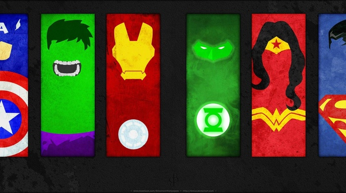 spider, man, Hulk, multiple display, Wonder Woman, DC Comics, Batman, Superman, Iron Man, The Flash, Green Lantern, Wolverine