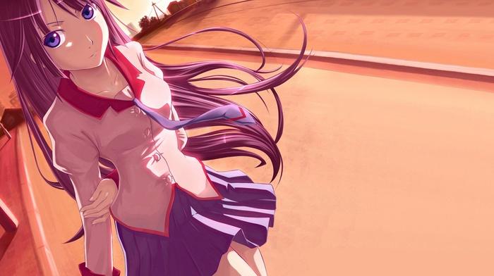 anime girls, Senjougahara Hitagi, school uniform, anime, monogatari series