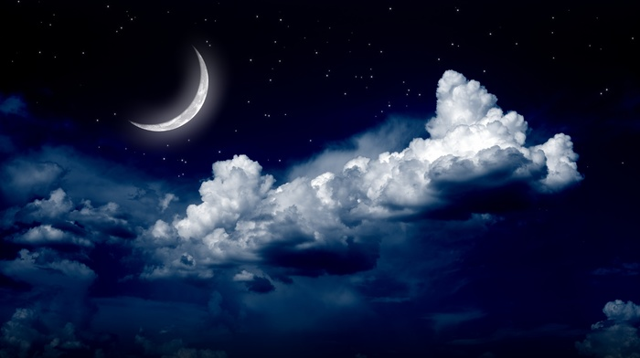 stunner, clouds, moon, stars, night, beautiful, photoshop