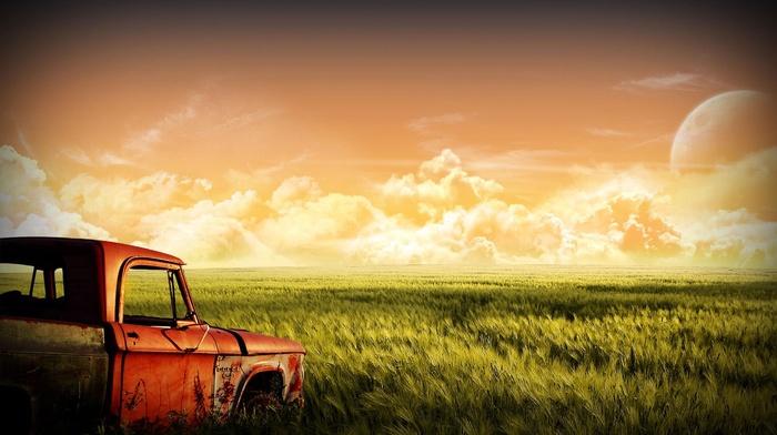 landscape, nature, automobile, cars, retro
