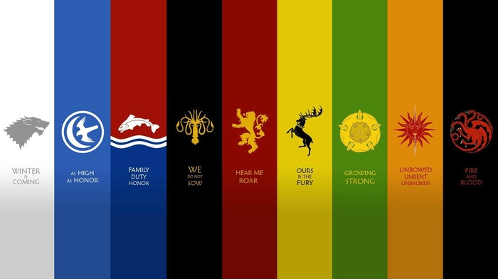 House Tully, House Greyjoy, House Baratheon, House Tyrell, House Martell, Game of Thrones, House Targaryen, House Arryn, house stark, House Lannister, sigils, panels