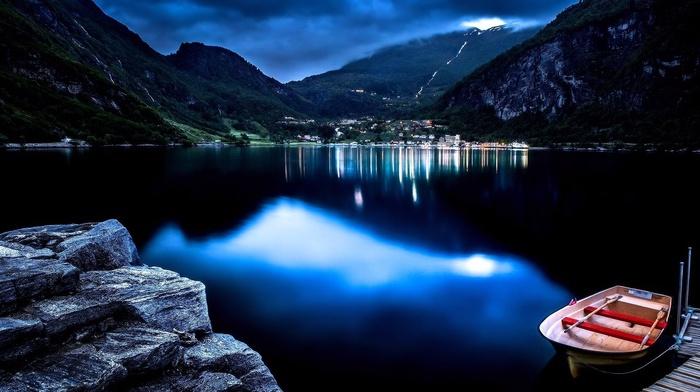 mountain, water, night, nature, boat