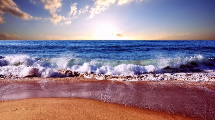 horizon, nature, sea, surf, waves