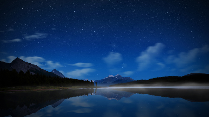 stars, lake, mountain, night, sky, water, nature