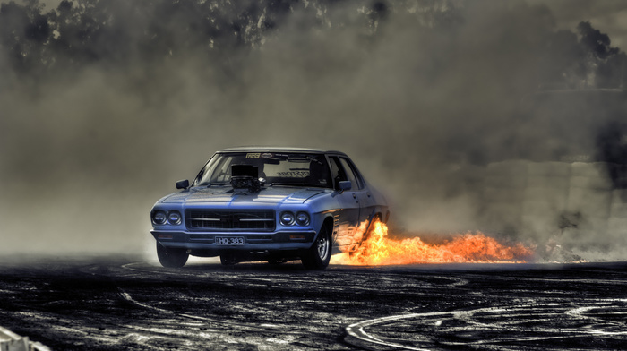 cars, drift, road, smoke, car, fire