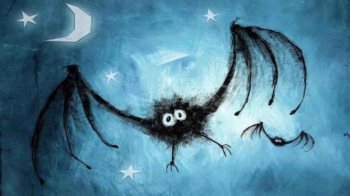 spooky, moon, stars, bats, blue