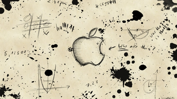 paint splatter, graffiti, Apple Inc., monochrome