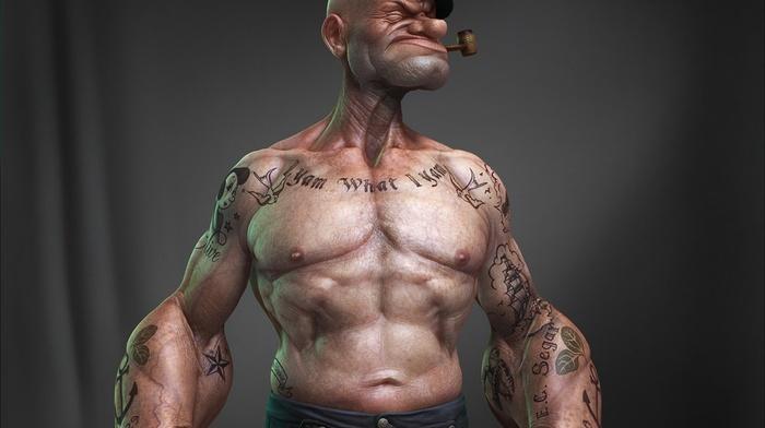 3D, tattoo, black background