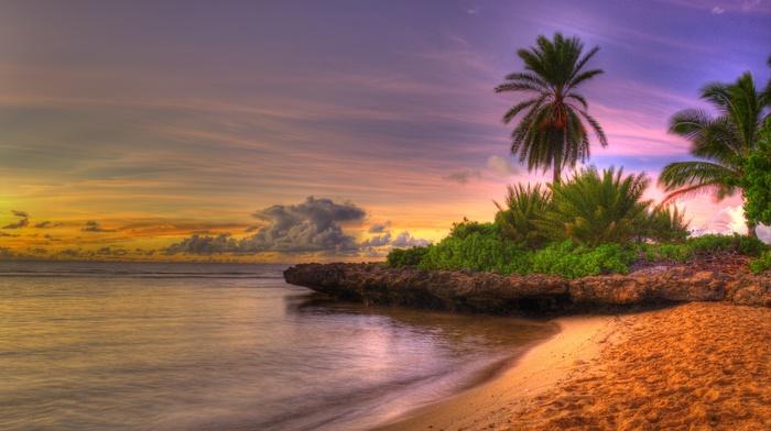 пляж, пейзаж, красивые, море, природа, закат