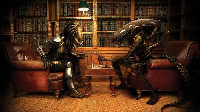 Alien vs. Predator, predator movie, Aliens movie, wine, chess, anime