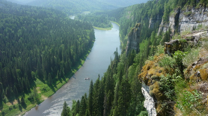 деревья, природа, лес, скалы, Россия, река Усьва, красота