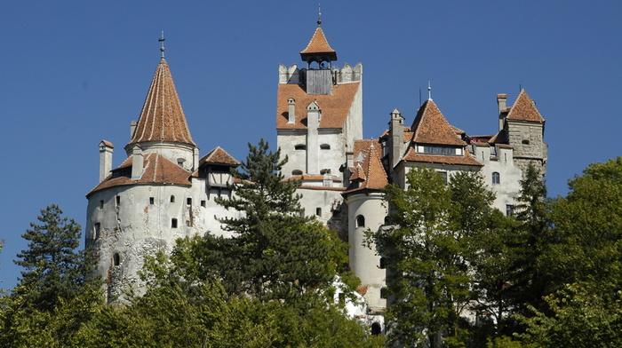замок Бран, красота, небо, деревья, Румыния, города, замок
