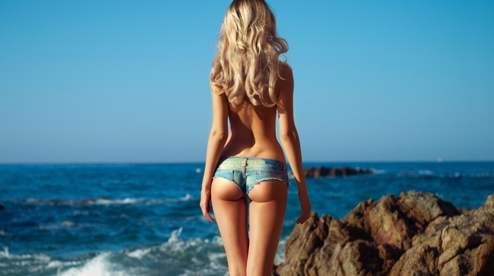 rocks, theme, sexy, beach, ass, stones, blonde, girls, girl, macro, nature, ocean, beautiful, photo