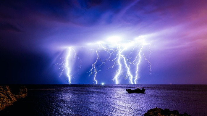 sea, beautiful, night, nature, stunner, sky, lightning, rocks