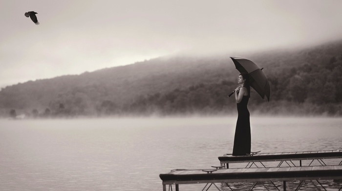 птицы, девушка, монохром, зонтик