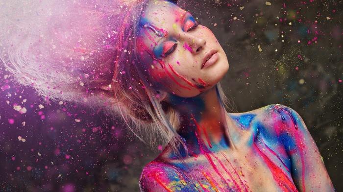 closed eyes, sunlight, body paint, girl, bare shoulders, paint splatter