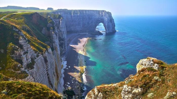 coast, beautiful, stones, France, sea, rocks, nature, summer