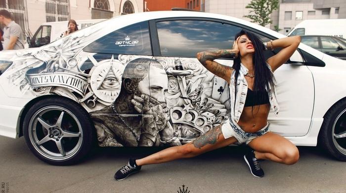 тема, тюнинг, тату, авто, рисунок, девушка, позирует, креатив, брюнетка, паркинг, люди, город