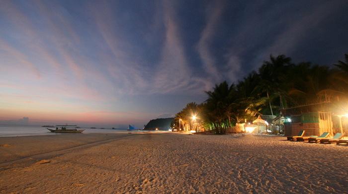 красота, пляж, красивые, зелень, небо, огни, освещение, Остров Бора-Бора, берег, океан