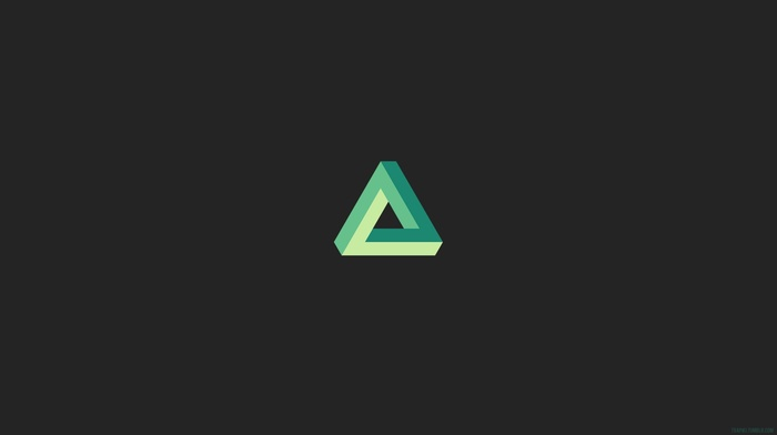 triangle, Penrose triangle, gray, minimalism