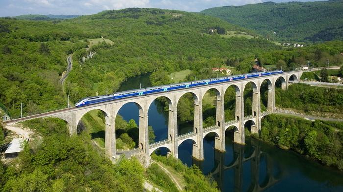 river, sky, France, greenery, beauty, bridge, train, mountain